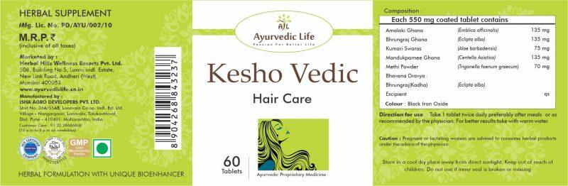 kesho vedic 60 tablet - label