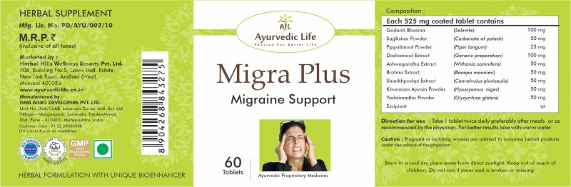 migra plus 60 tablet - label