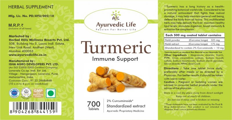 turmeric 700 tablet - label