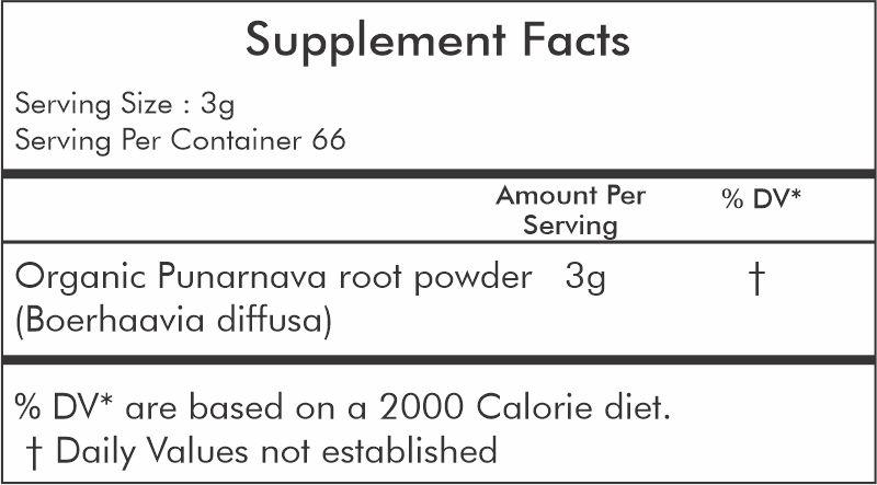 Organic punarnava powder 200 gm - ingredient